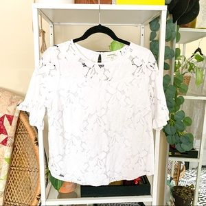 MONTEAU White lace Short Sleeve Top